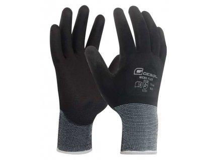 Pracovní rukavice MICRO FLEX TOUCH velikost 9  - blistr
