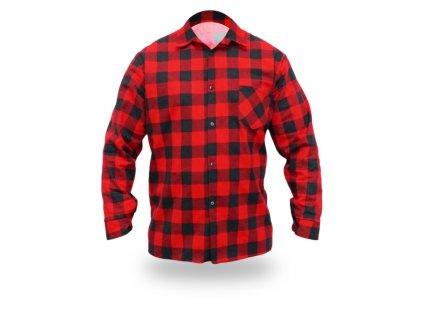 Flanelová košile červené, velikost L, 100% bavlna DEDRA BH51F1-L
