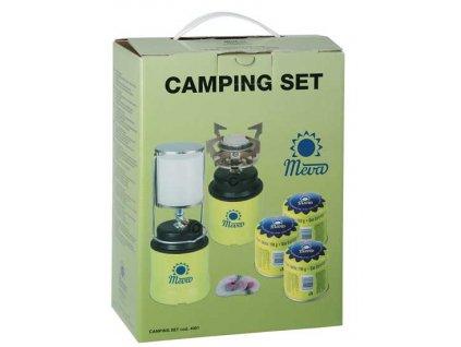 Camping sada Meva; plynový vařič + lampa + 3x kartuše