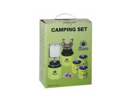 Camping sada piezo Meva, plynový vařič + lampa + 3x kartuše