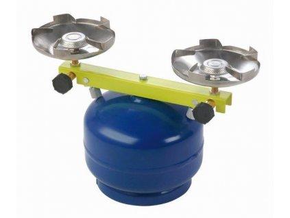 Plynový vařič dvouhořákový na malou PB lahev Táborák MEVA 2137