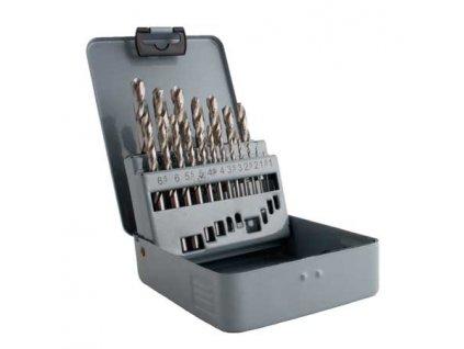 Sada vrtáků do kovu HSS-G vybrušované 19ks (1,0-10,0mm), plechové pouzdro