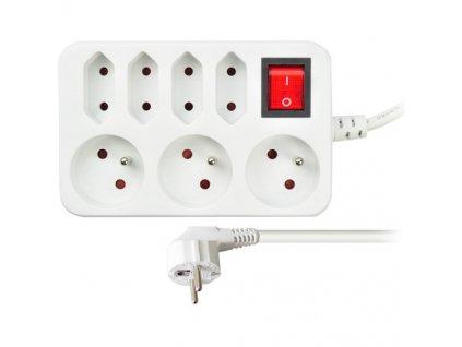 Prodlužovací přívod, 7 zásuvek, bílý, vypínač, 2m Solight PP141S