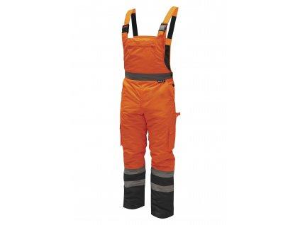 Reflexní zateplené kalhoty s laclem vel. XXXL,oranžové DEDRA BH80SO2-XXXL