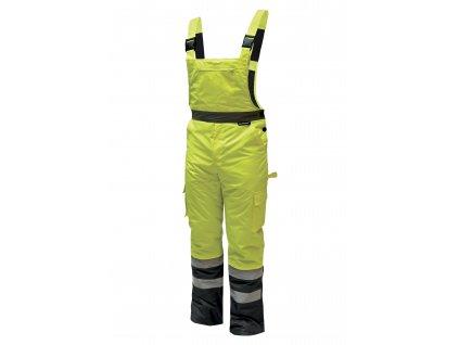 Reflexní zateplené kalhoty s laclem vel. XXXL,žluté