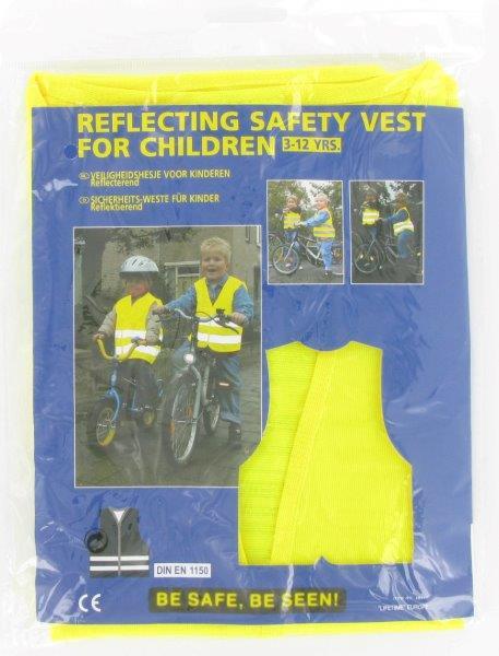 Dětská bezpečnostní reflexní vesta; pro děti 3-12 let - žlutá