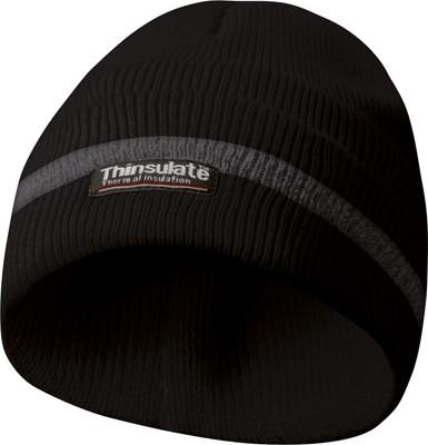 Reflexní zimní pracovní čepice, materiál THINSULATE - černá