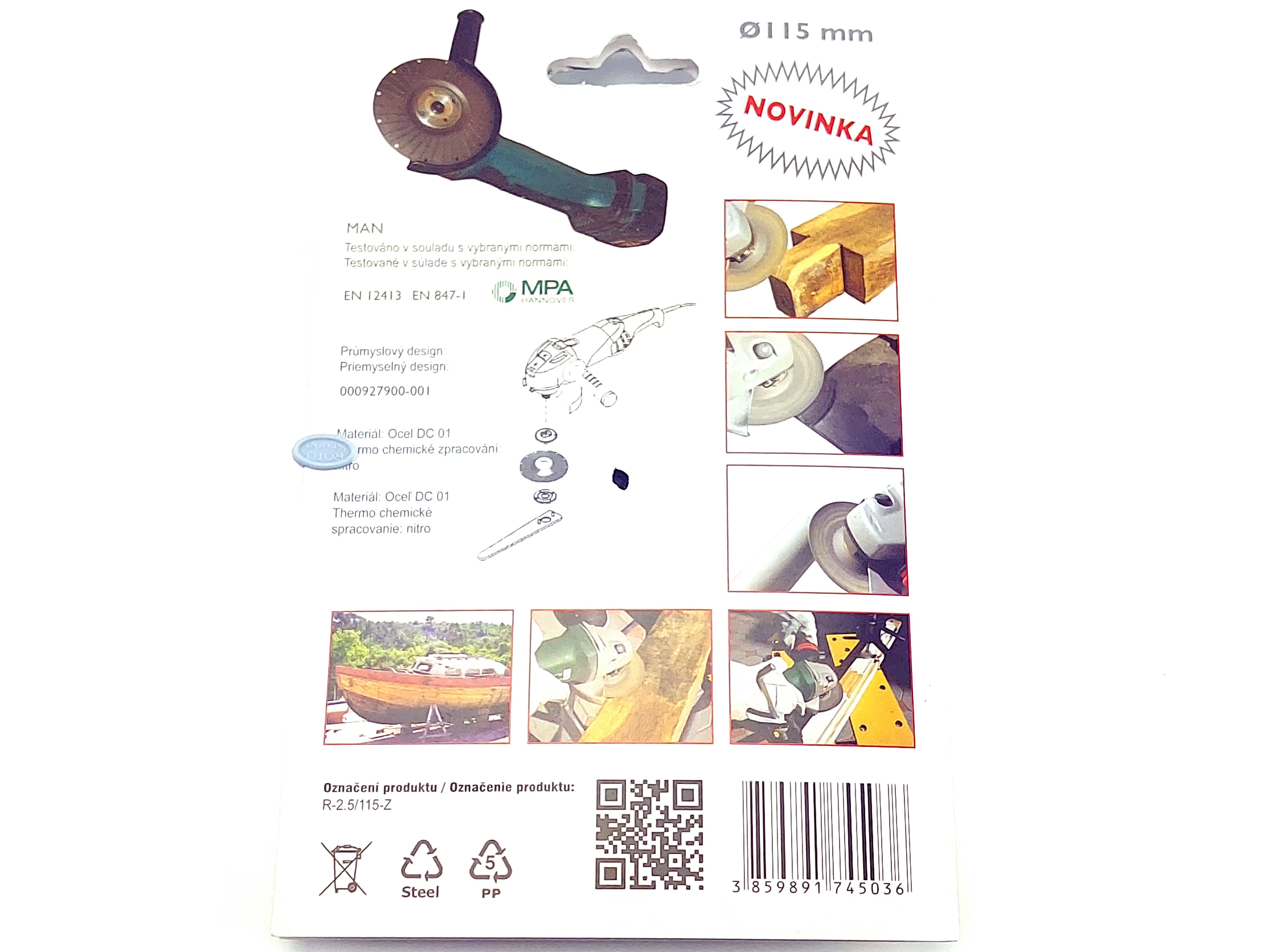 Rotační rašple do úhlové brusky 115x22,2mm - hrubá čepel 2,5mm