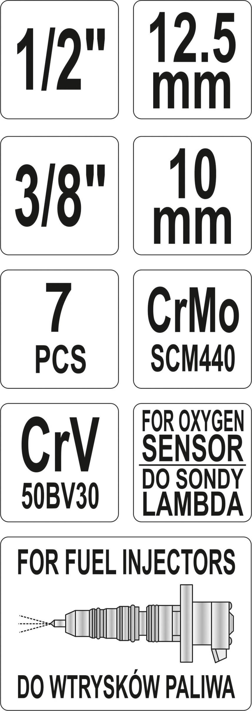 Sada klíčů nástrčných na lambda sondy a vstřiky 7 ks