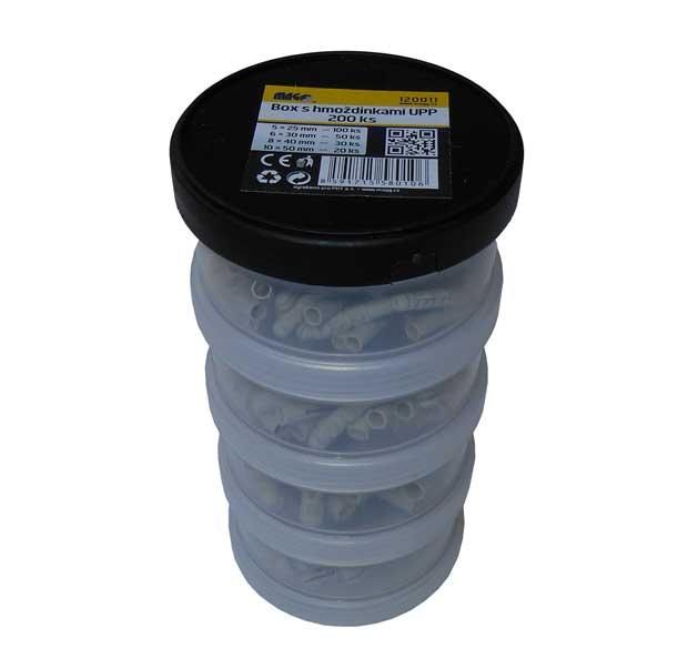 Plastový box s balením hmoždinek UPP - 200ks