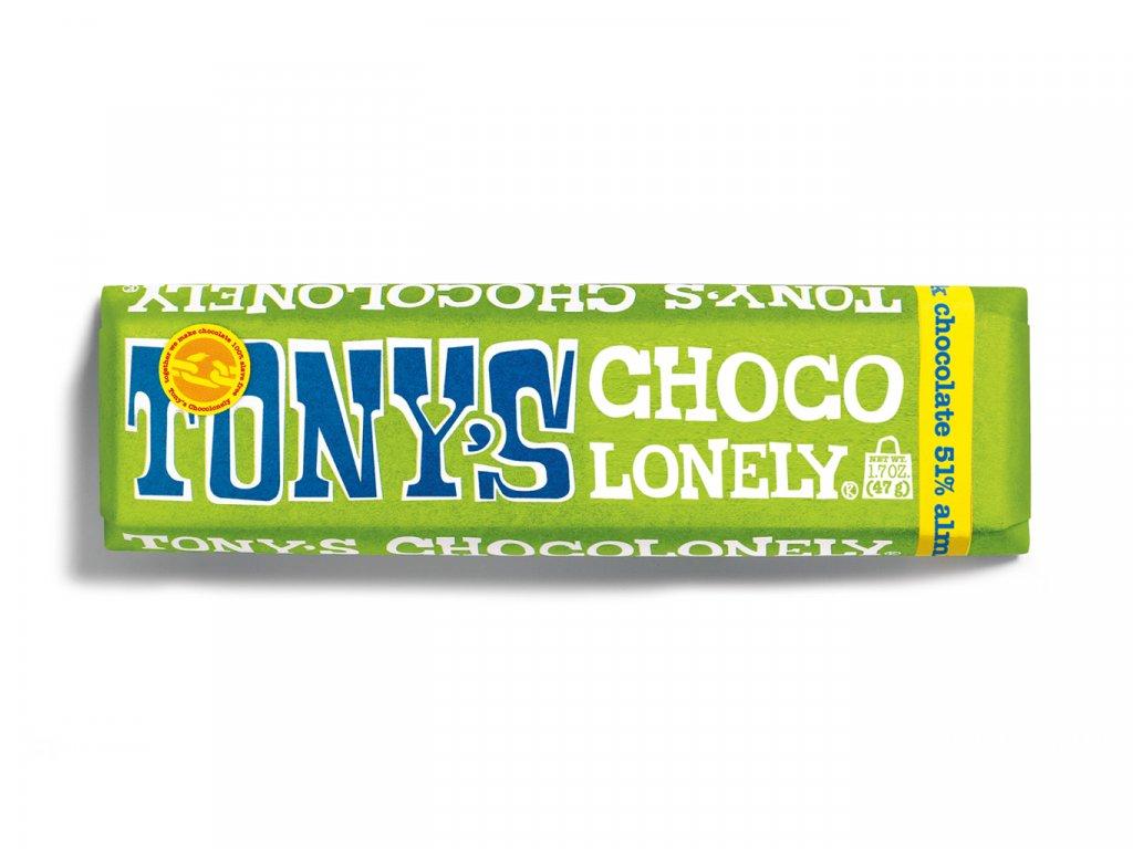 Tony's Chocolonely – hořká čokoláda, mandle a mořská sůl, 47 gramů