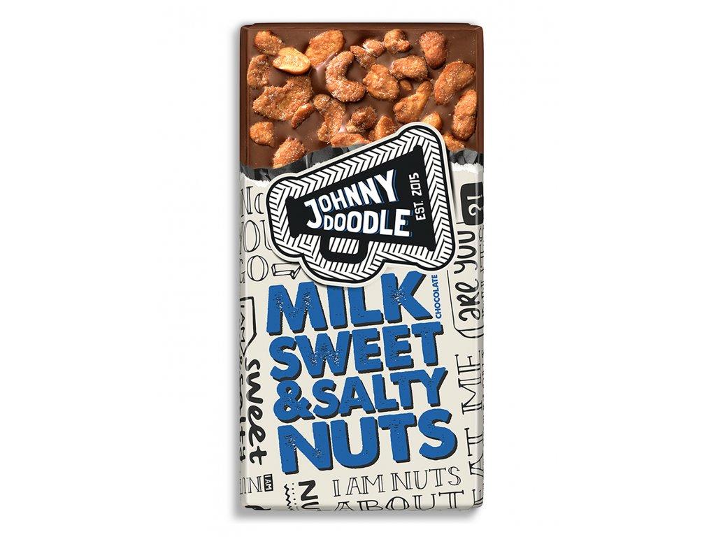 Johnny Doodle – mléčná čokoláda, sladké a slané ořechy, 150 gramů