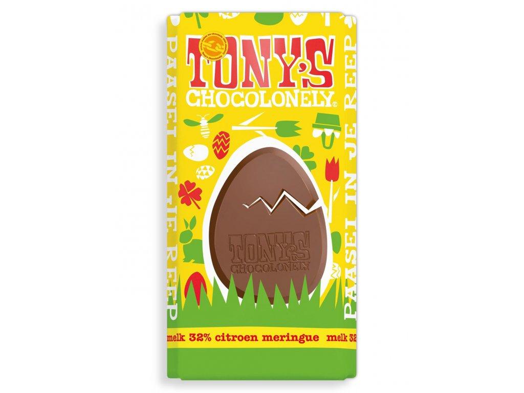 Tony's Chocolonely – mléčná čokoláda, sněhové pusinky a citron, 180 gramů
