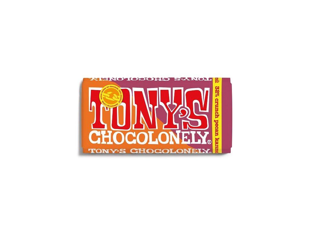 Tony's Chocolonely - mléčná čokoláda, pekanové ořechy a karamel, 180 gramů