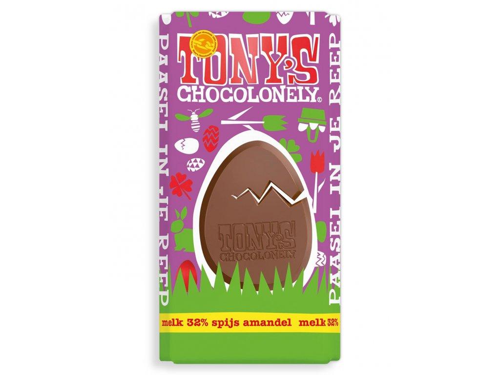 Tony's Chocolonely – mléčná čokoláda, mandlová pasta a mandle, 180 gramů
