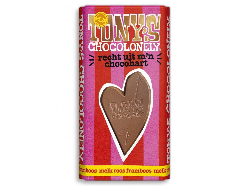 Tony's Chocolonely – mléčná čokoláda, maliny a růže, 180 gramů