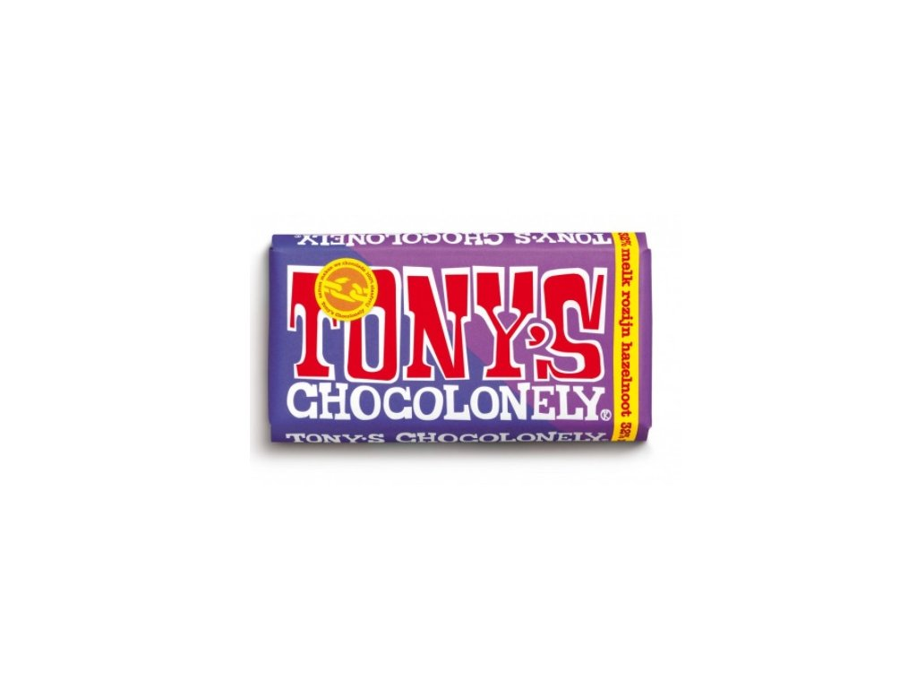 Tony's Chocolonely – mléčná čokoláda, lískové oříšky a rozinky, 180 gramů