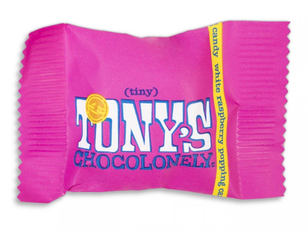 Tony's Chocolonely – bílá čokoláda, maliny a praskající cukr, 9 gramů