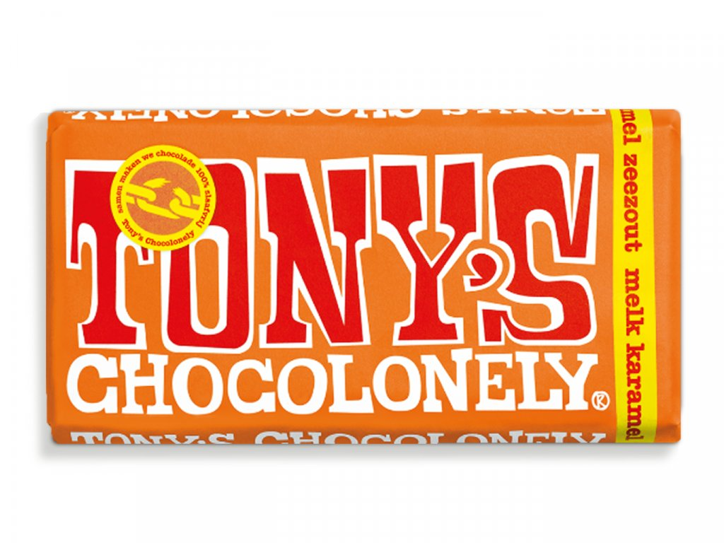 Tony's Chocolonely – mléčná čokoláda, karamel a mořská sůl, 180 gramů