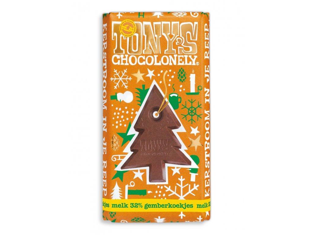 Tony's Chocolonely – mléčná čokoláda, vánoční perníček, 180 gramů