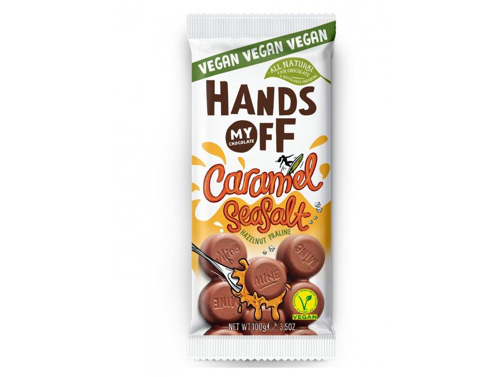 Hands off my chocolate – veganská lískooříšková čokoláda, karamel a mořská sůl, 100 gramů