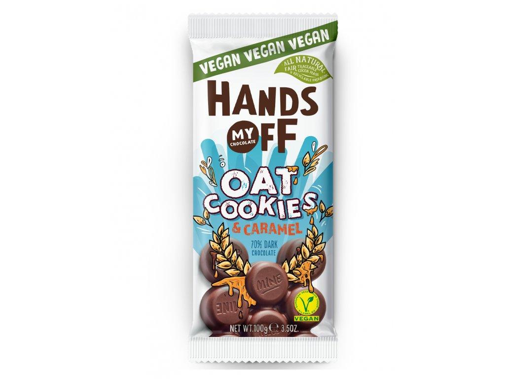Hands off my chocolate – hořká čokoláda, ovesné sušenky a karamel, 100 gramů