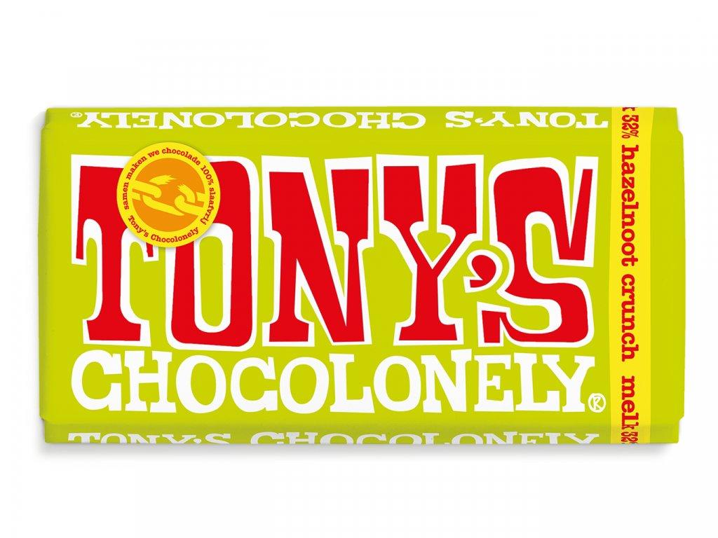 Tony's Chocolonely – mléčná čokoláda, lískové ořechy, lískooříšková pasta a sušenky, 180 gramů