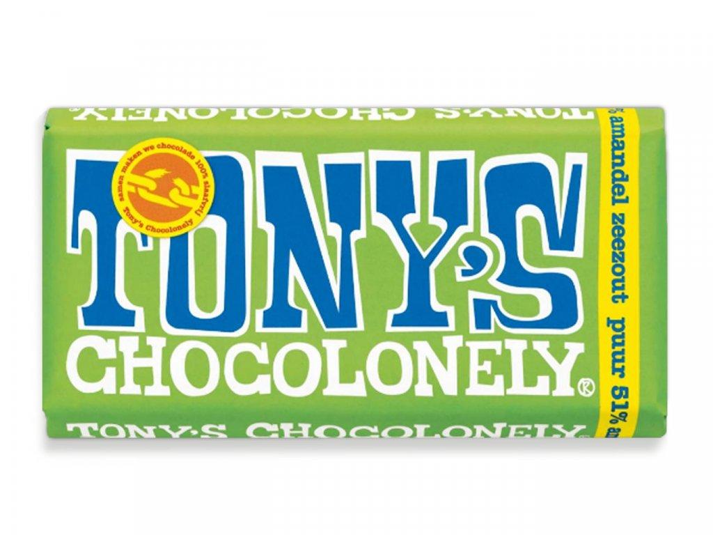 Tony's Chocolonely – hořká čokoláda, mandle a mořská sůl, 180 gramů