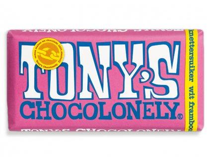 Tony's Chocolonely – bílá čokoláda, maliny a praskající cukr, 180 gramů