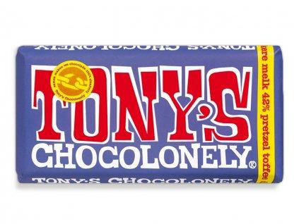 Tony's Chocolonely – mléčná tmavá čokoláda, preclíky a karamel, 180 gramů
