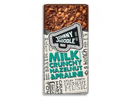 Johnny Doodle – mléčná čokoláda, lískové ořechy a pralinky, 150 gramů