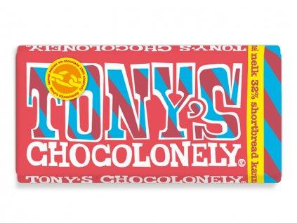 Tony's Chocolonely – mléčná čokoláda, dortové sušenky a karamelové kousky, 180 gramů