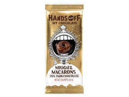 Hands off my chocolate – hořká čokoláda, nugát a makronky, 95 gramů
