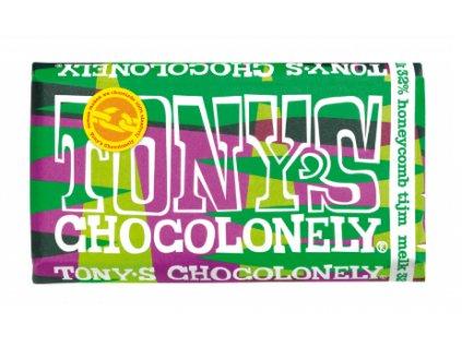 Tony's Chocolonely – mléčná čokoláda, medové plástve a tymián, 180 gramů