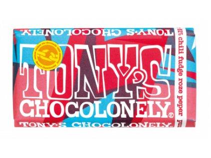 Tony's Chocolonely – hořká čokoláda, chilli fondán a růžový pepř, 180 gramů