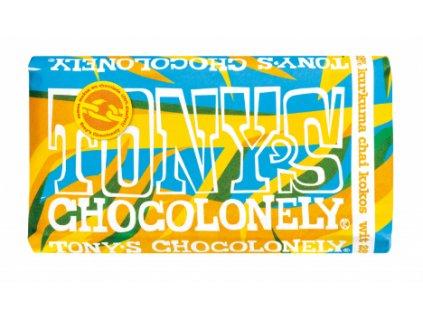 Tony's Chocolonely – bílá čokoláda, kurkuma chai a kokos, 180 gramů