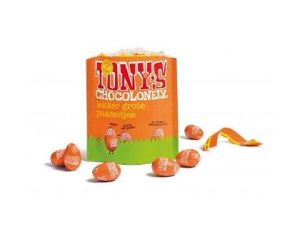Tony's Chocolonely –  mléčná čokoláda, karamel a mořská sůl - vejce, pytlík 178 gramů