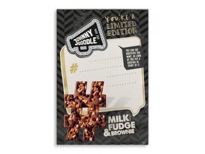 Johnny Doodle - mléčná čokoláda, fondán a brownies, 150 gramů - #hashtag