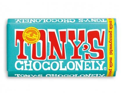 Tony's Chocolonely – mléčná čokoláda, vafle a sušenky, 180 gramů