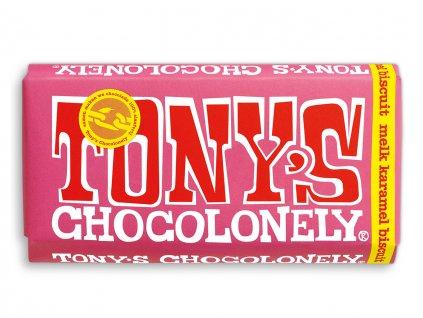 Tony's Chocolonely – mléčná čokoláda, karamel a sušenky, 180 gramů