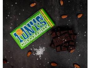 Tony's Chocolonely – hořká čokoláda, mandle a sůl, 180 gramů