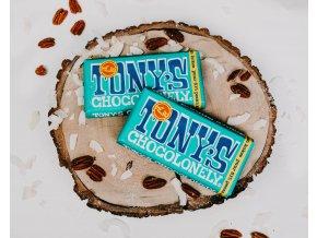 Tony's Chocolonely – hořká čokoláda, pekan a kokos, 180 gramů