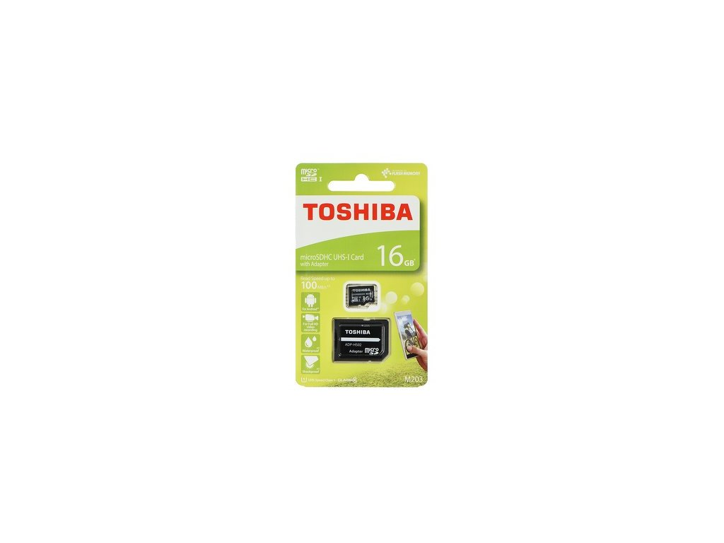 Paměťová karta TOSHIBA microSDHC 16 GB M203 CLASS 10 UHS I U1 100 MB / s s adaptérem SD