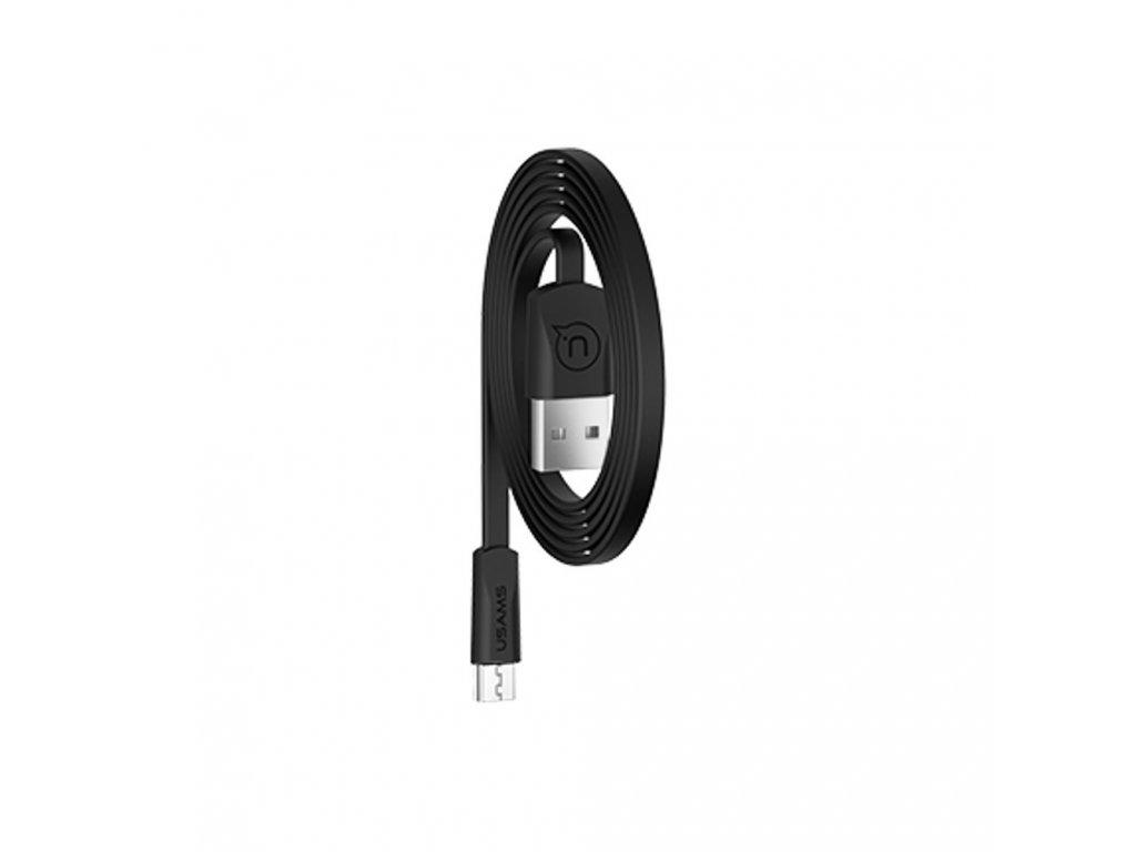 USAMS SJ201 Flat Datový Kabel microUSB 2A Black (EU Blister)