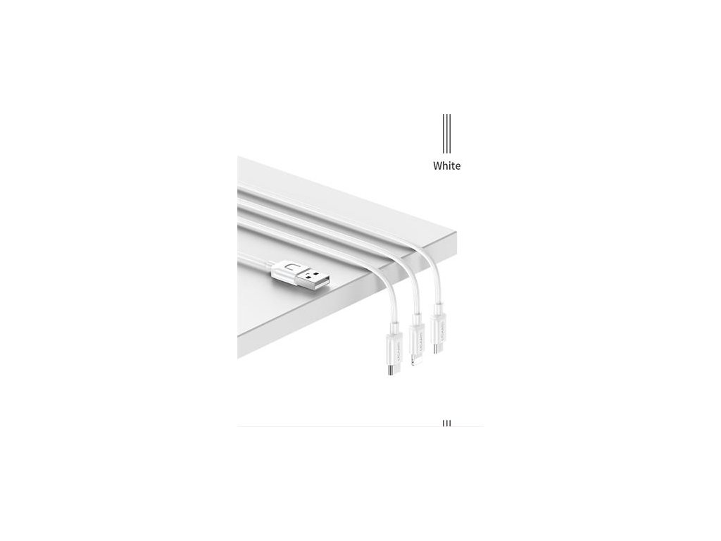 USAMS SJ324 3v1 Datový Kabel 1.2m White (EU Blister)