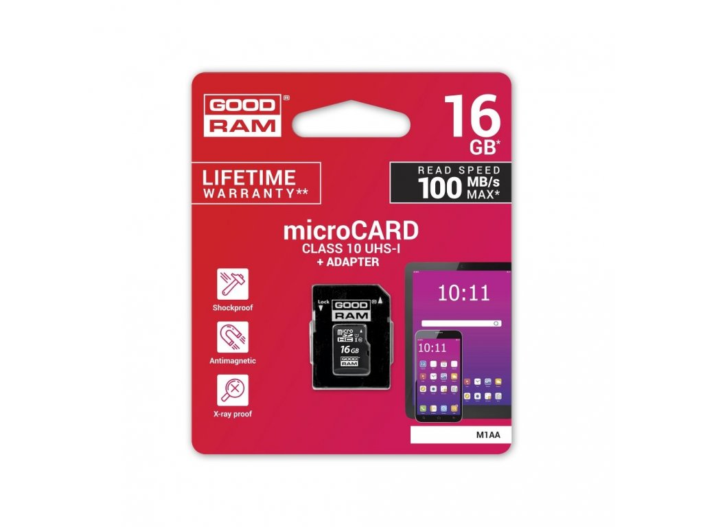 Memory Card GOODRAM microSD SD 16GB CLASS 10 UHS I 100MB/s with adapter