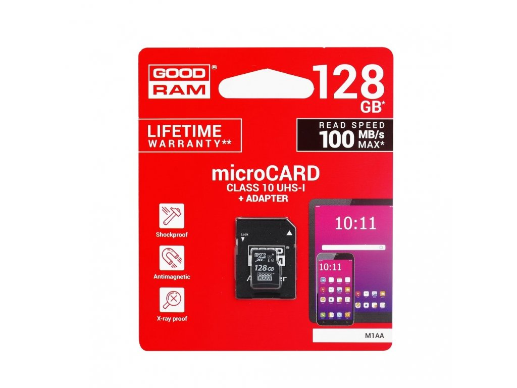 Memory Card GOODRAM microSD SD 128GB CLASS 10 UHS I 100MB/s with adapter