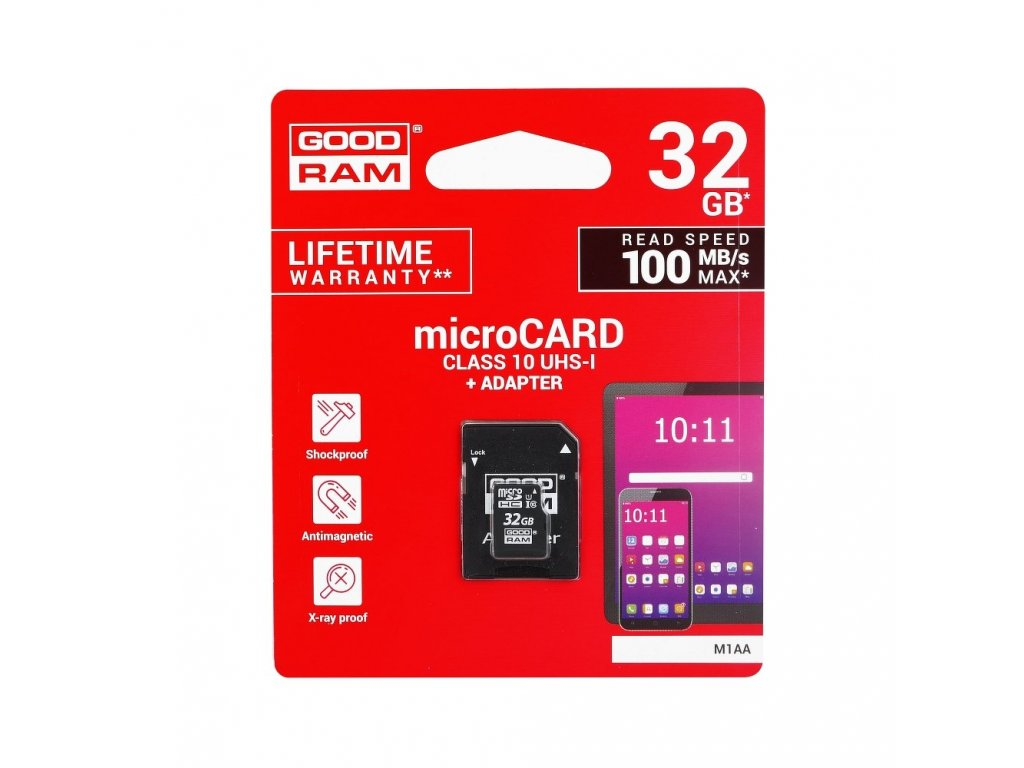 Memory Card GOODRAM microSD SD 32GB CLASS 10 UHS I 100MB/s with adapter