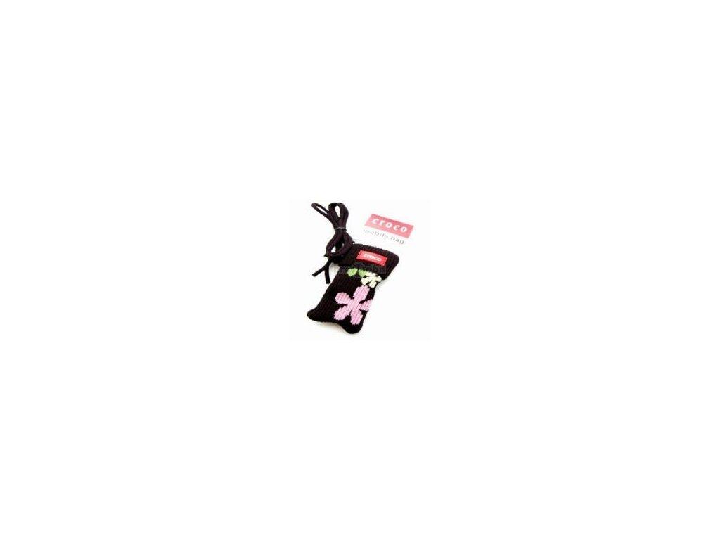 Pouzdro croco kulich černé s růžovou kytičkou