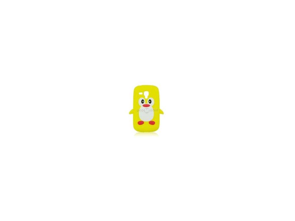 3D silikonové pouzdro Samsung I8190 tučňák žluté